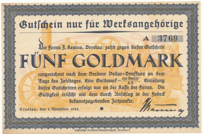 Notgeld 5 gold marek 1923 Wrocław