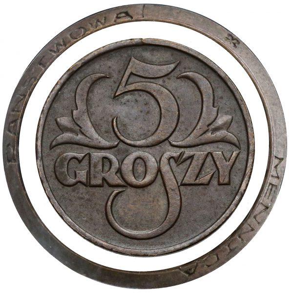 5 groszy 1923 z napisem MENNICA PAŃSTWOWA na rancie