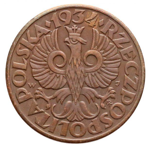 Awers fałszerstwa 5 groszy 1934 gdzie układ cyfry 9 względem korony wygląda właściwie