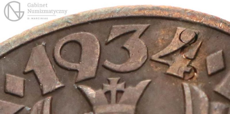 Bolce w dacie fałszerstwa 5 groszy 1934