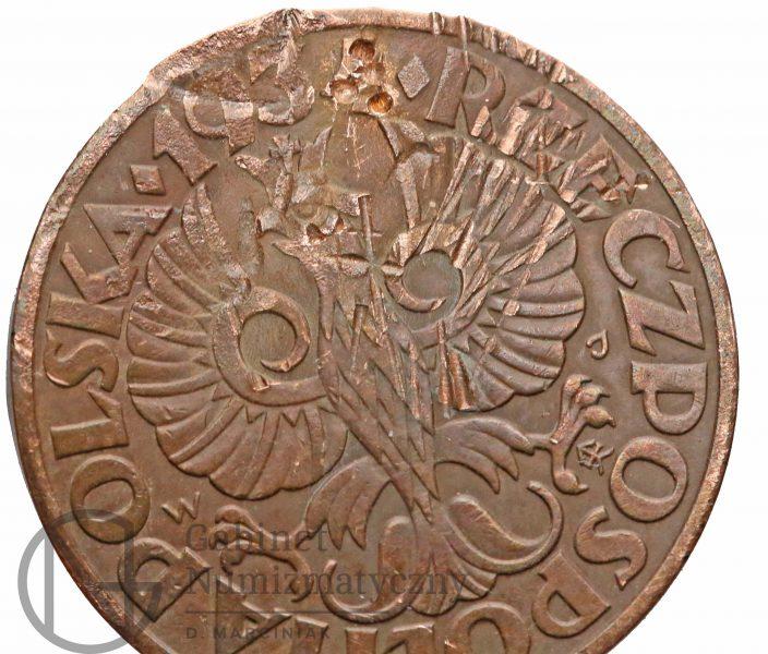 Pozostałości po fałszerstwie 5 groszy 1934