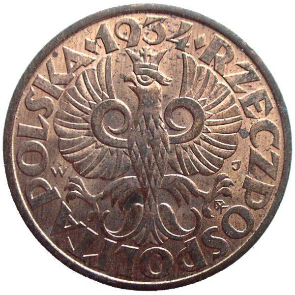 Awers oryginału 5 groszy 1934