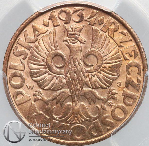 Awers oryginału 5 groszy 1934 w slabie PCGS
