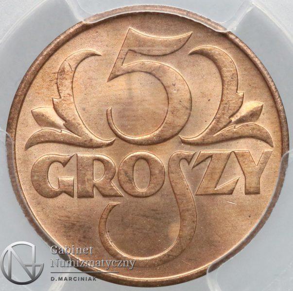Rewers oryginału 5 groszy 1934 w slabie PCGS