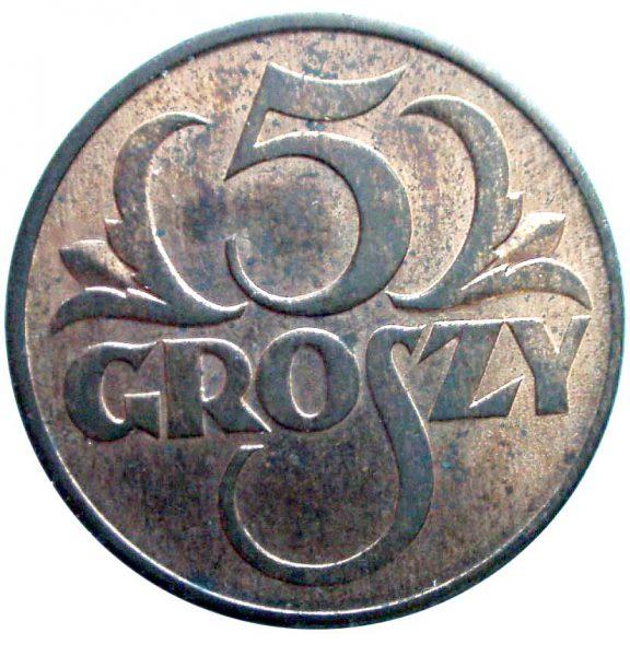 Rewers oryginału 5 groszy 1934