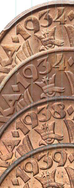 Porównanie oryginału i fałszerstwa 5 groszy 1934 oraz monet z roczników 1938 i 1939