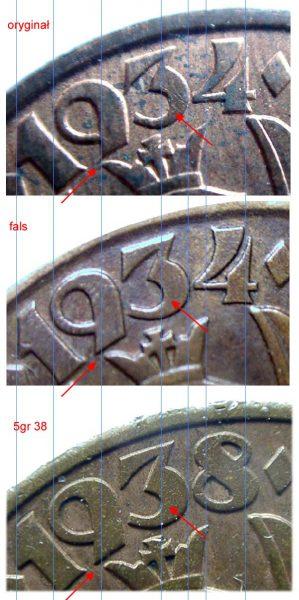 Porównanie wyglądu daty na oryginalnym 5 groszy 1934 z falsyfikatem zrobionym z 5 groszy 1938