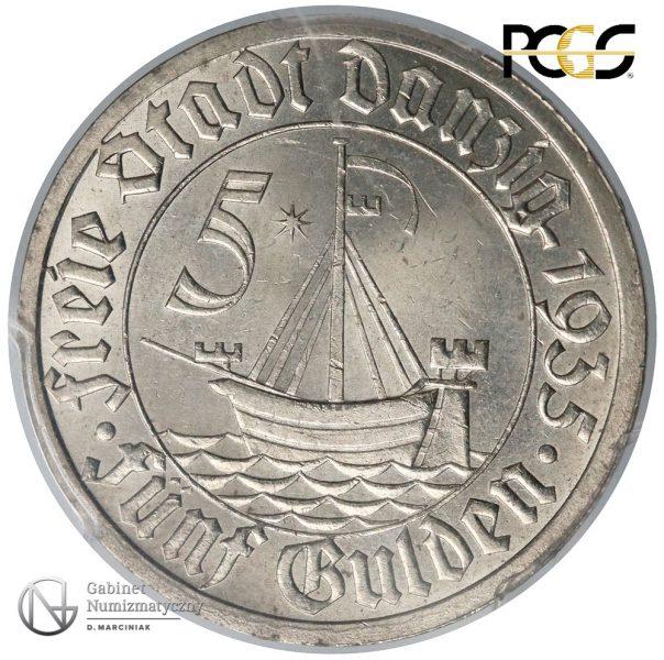 Rewers 5 guldenów 1935 w ocenie PCGS MS65