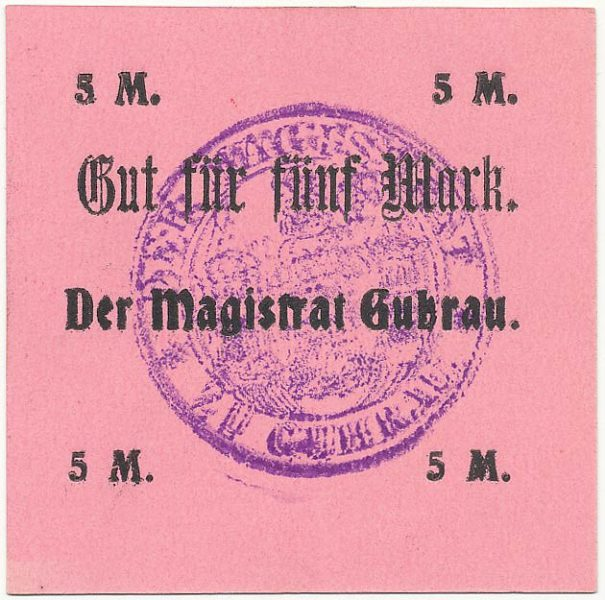 Notgeld 5 marek magistratu w Górze