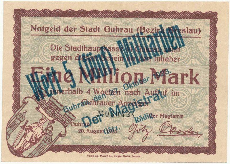 Notgeld 5 miliardów marek 1923 magistratu w Górze z przedrukiem