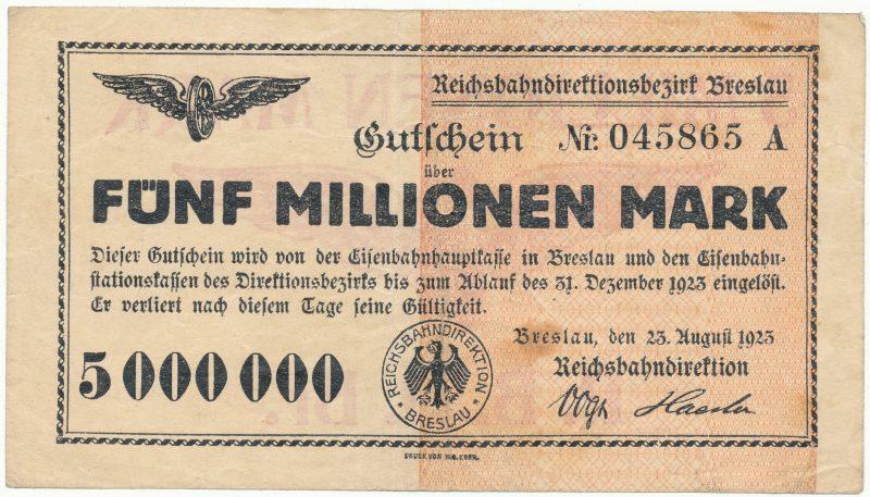 Notgeld 5 milionów marek 1923 Wrocław