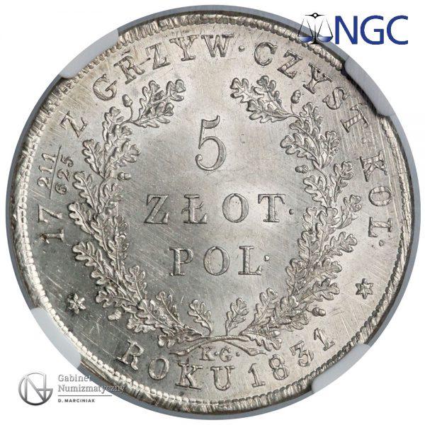 Rewers 5 złotych 1831 w ocenie NGC MS64