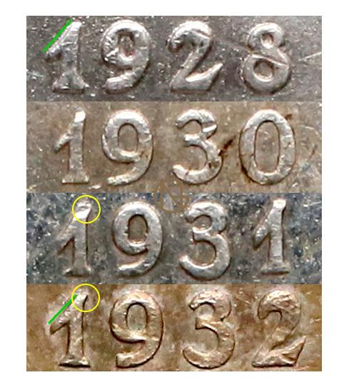 Cechy charakterystyczne cyfry 1 w dacie 5 złotych 1928-1932 Nike