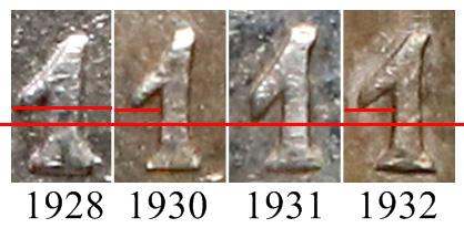 Porównanie cyfry jeden w dacie 5 złotych 1928-1932 Nike