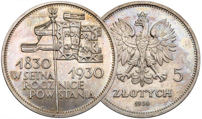 Wybite stemplem lustrzanym 5 złotych 1930 Głęboki sztandar