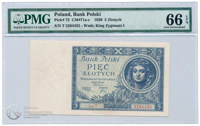 Awers banknotu 5 złotych 1930 w ocenie PMG 66 EPQ