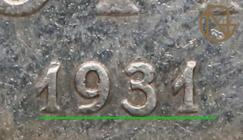 Ułożenie cyfr w dacie 5 złotych 1931 Nike