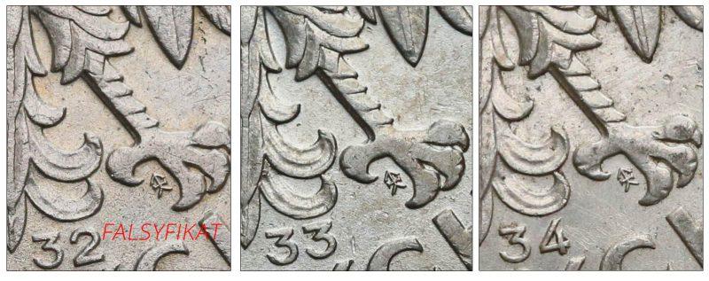 Porównanie położenia znaku mennicy fałszerstwie 5 złotych z lat 1932 1933 i 1934