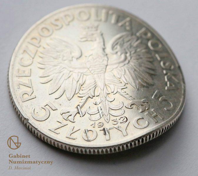 Fałszerstwo 5 złotych 1932 wypadająca 2 z daty