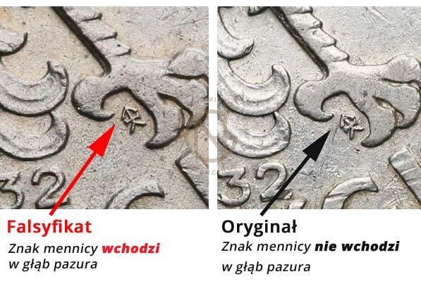 Porównanie położenia znaku mennicy w oryginale i fałszerstwie 5 złotych 1932