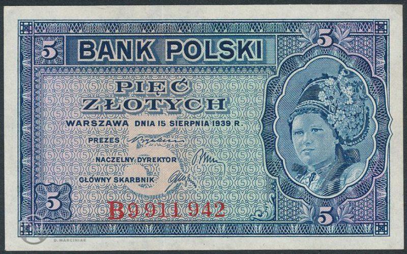 Awers banknotu 5 złotych 1939