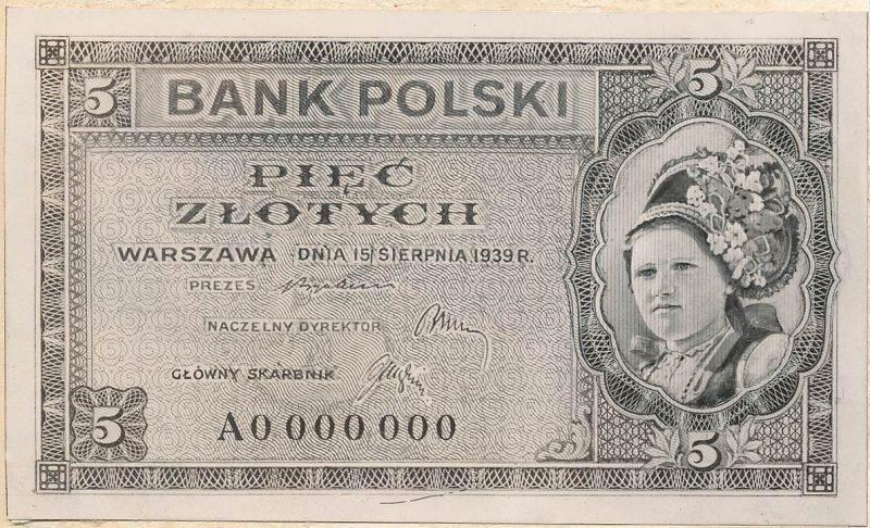 Awers banknotu 5 złotych 1939 w wersji z drobnymi różnicami względem wersji zatwierdzonej