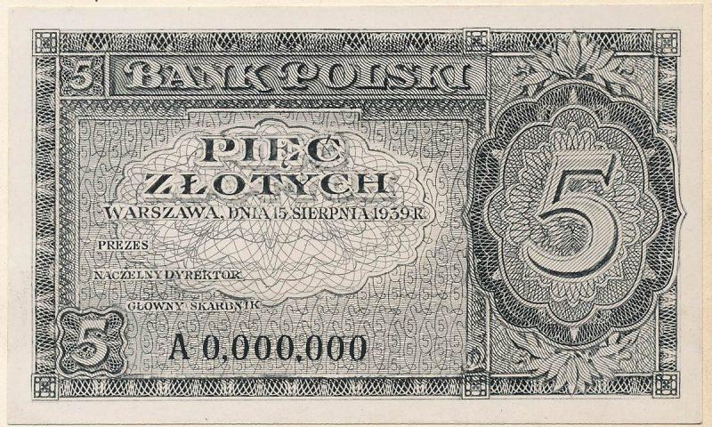 Awers banknotu 5 złotych 1939 w wersji zupełnie odmiennej od zatwierdzonej