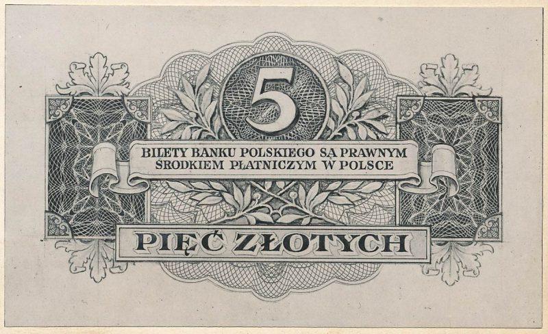 Rewers banknotu 5 złotych 1939 w wersji zupełnie odmiennej od zatwierdzonej