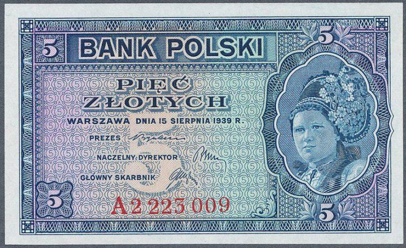 Awers zatwierdzonej wersji banknotu 5 złotych 1939