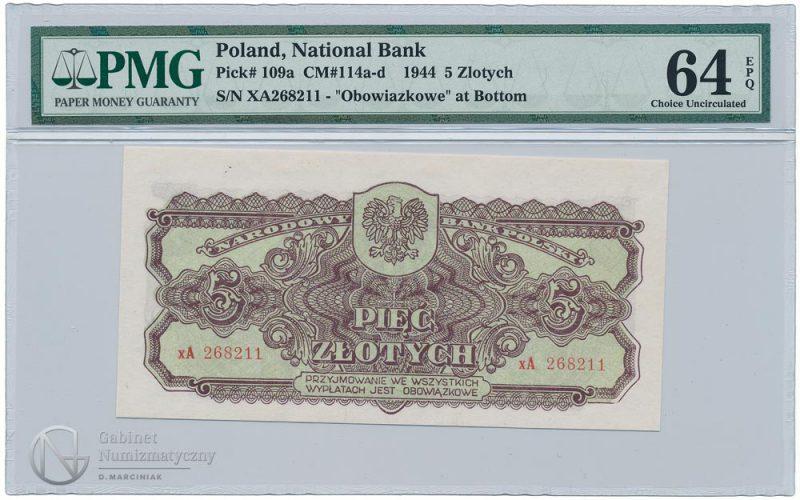 Awers banknotu serii zastępczej xA 5 złotych 1944 obowiązkowe w ocenie PMG 64 EPQ