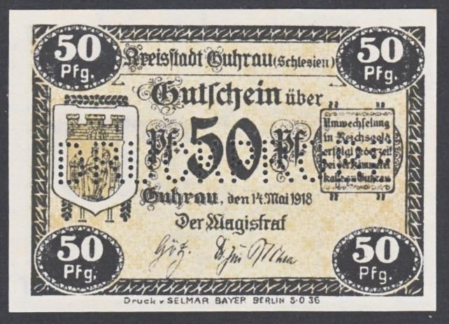 Notgeld 50 fenigów 1917-1920 magistratu w Górze z perforacją DRUCKPROBE