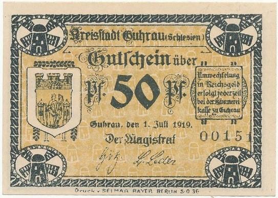 Notgeld 50 fenigów 1919 magistratu w Górze bez znaku wodnego