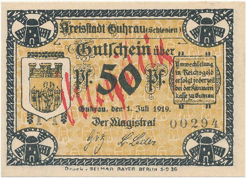 Unieważniony notgeld 50 fenigów 1919 magistratu w Górze z napisem Ungultig