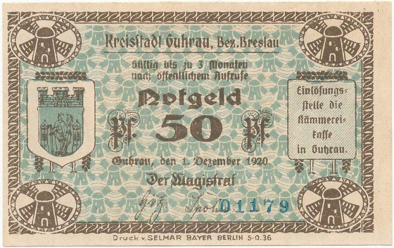 Notgeld 50 fenigów 1920 magistratu w Górze