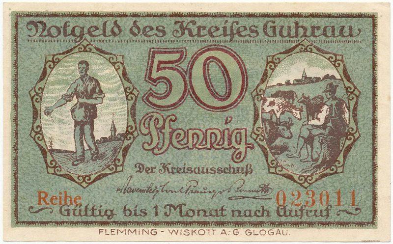Notgeld 50 fenigów 1920 powiatu Góry z błędem w oznaczeniu serii