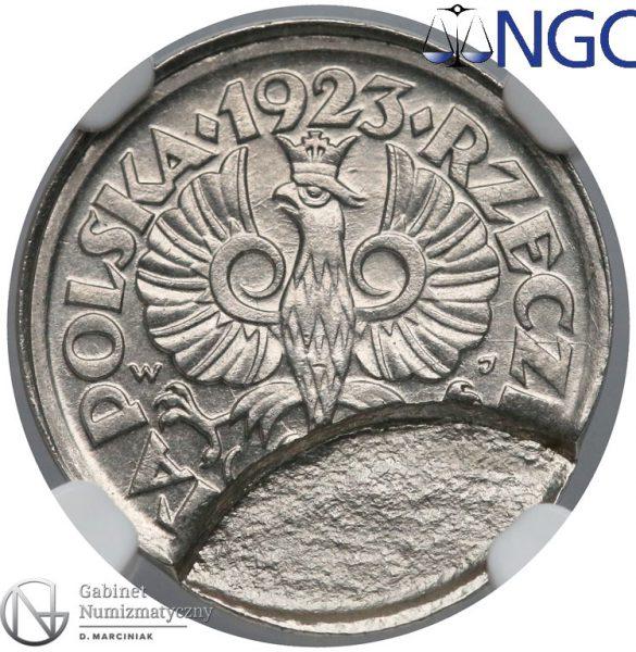 Destrukt 50 groszy 1923 indent dwie monety wbite na siebie