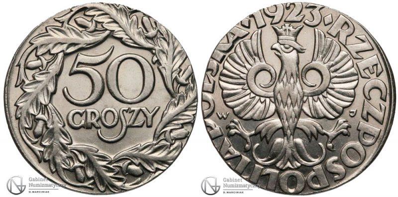 Destrukt 50 groszy 1923 na krążku 20 groszy
