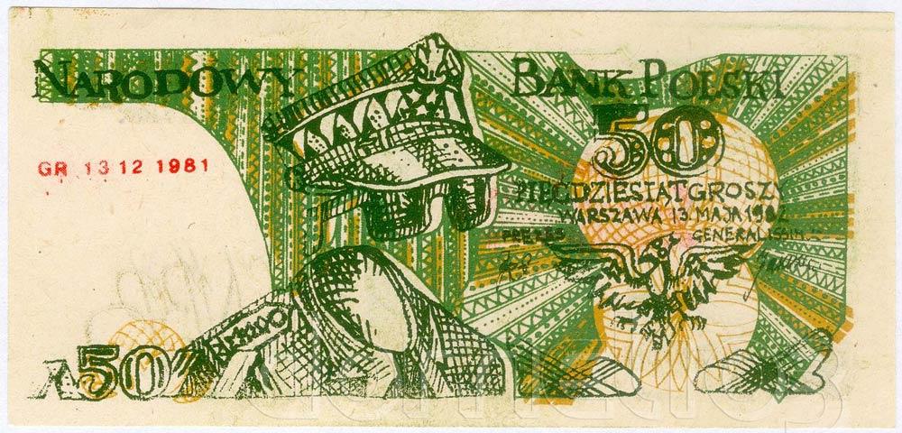 Awers 50 groszy 1982 odmiana 2