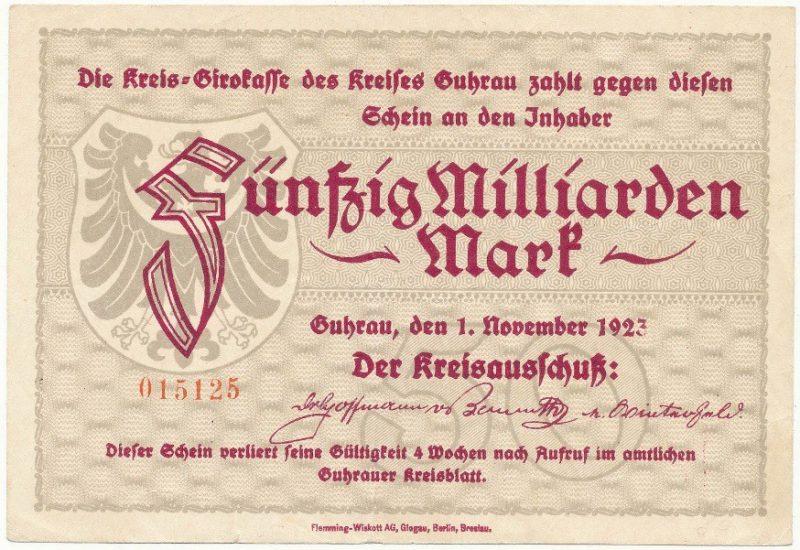 Notgeld 50 miliardów marek 1923 powiatu Góry