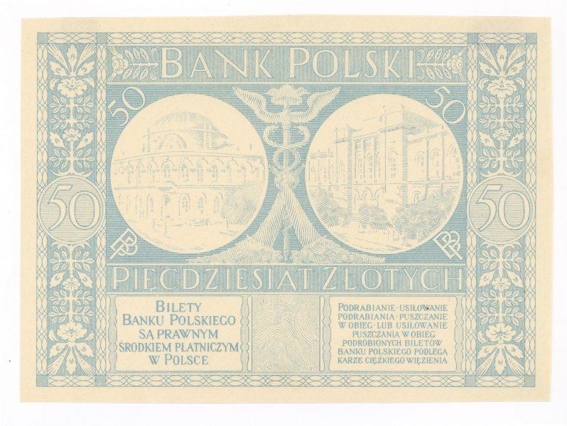Próba kolorystyczna 1 banknotu 50 złotych 1925