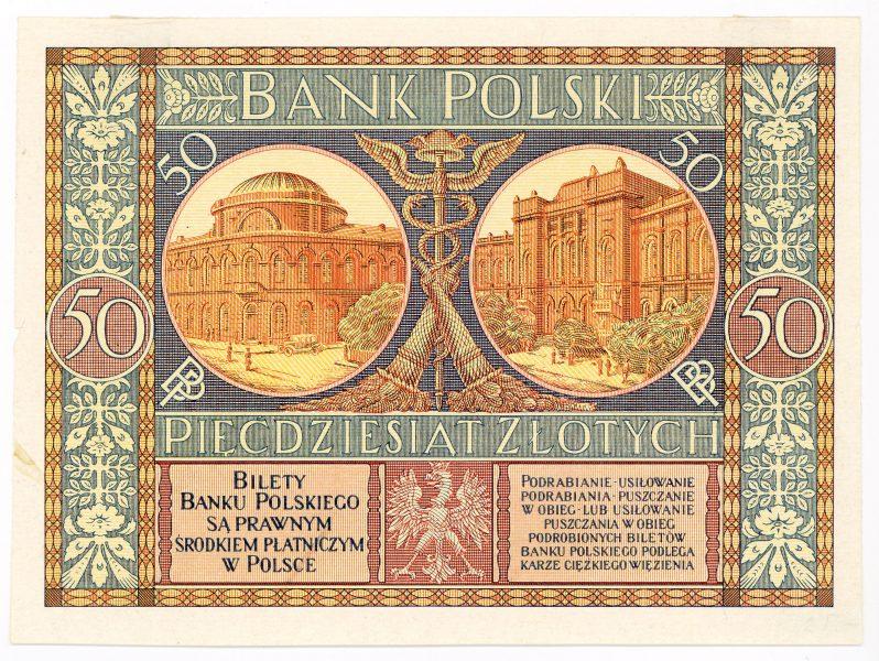 Próba kolorystyczna 10 banknotu 50 złotych 1925