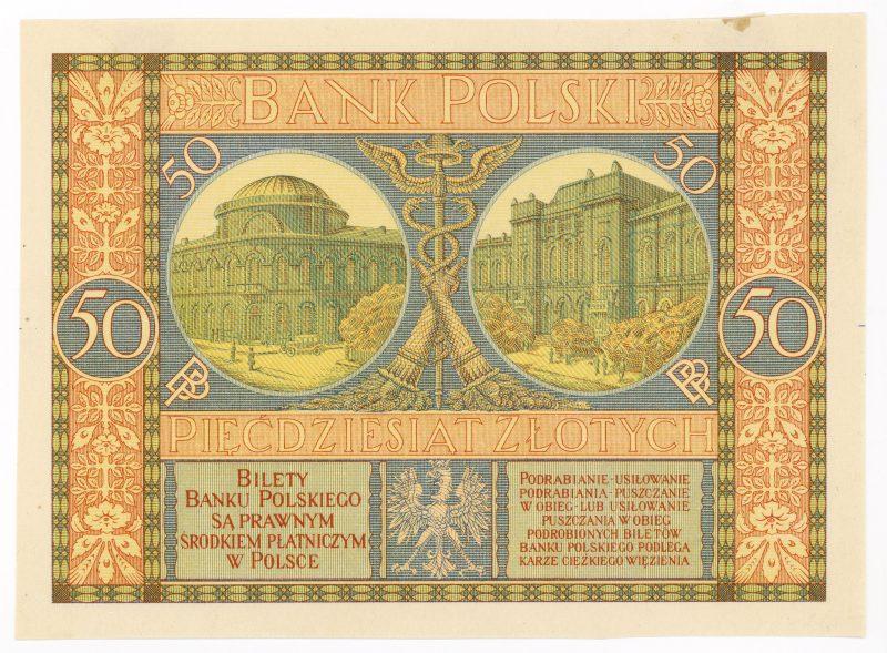 Próba kolorystyczna 12 banknotu 50 złotych 1925