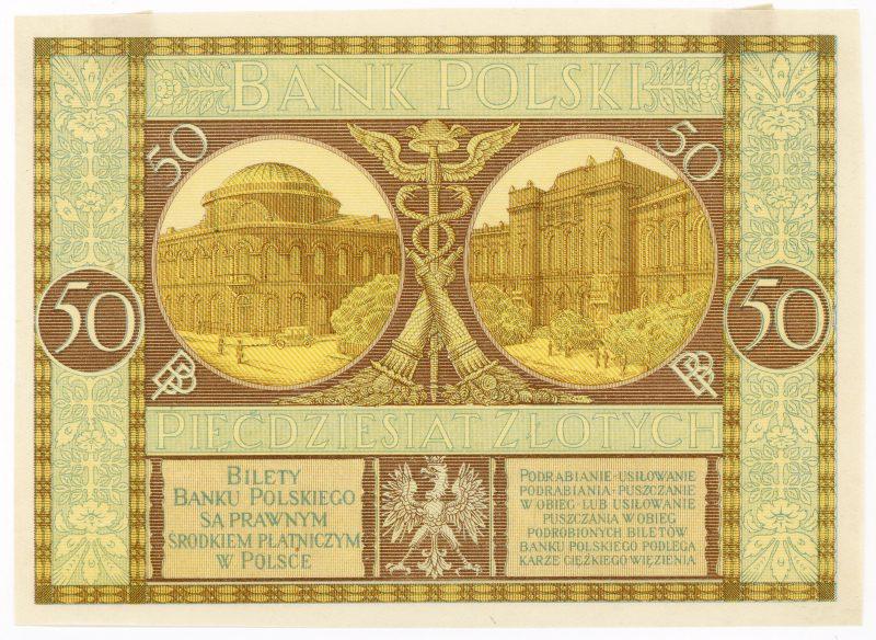 Próba kolorystyczna 13 banknotu 50 złotych 1925
