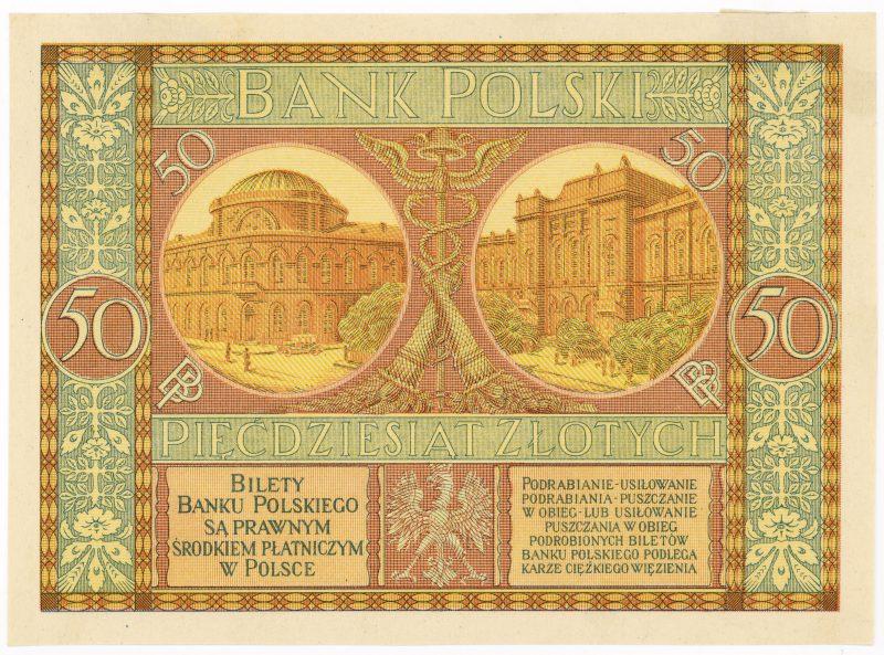 Próba kolorystyczna 14 banknotu 50 złotych 1925