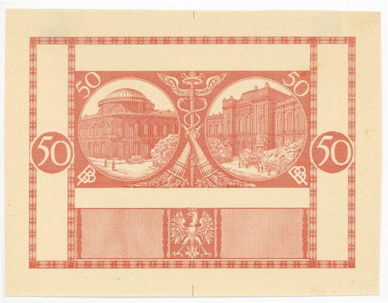 Próba kolorystyczna 3 banknotu 50 złotych 1925