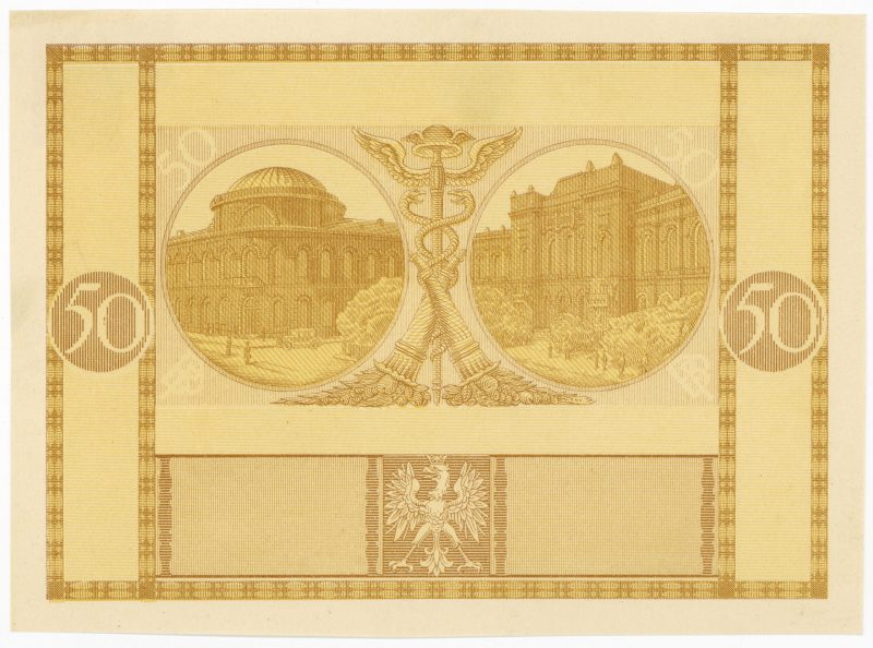 Próba kolorystyczna 4 banknotu 50 złotych 1925