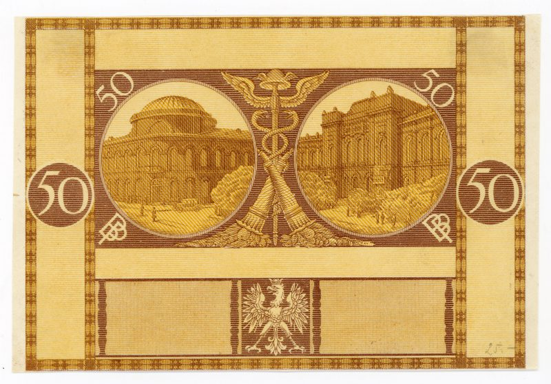 Próba kolorystyczna 5 banknotu 50 złotych 1925