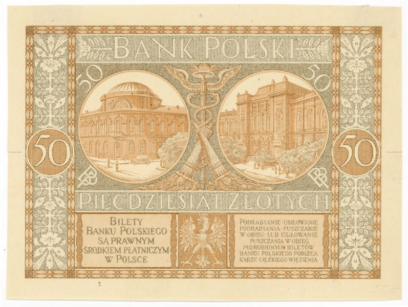 Próba kolorystyczna 7 banknotu 50 złotych 1925