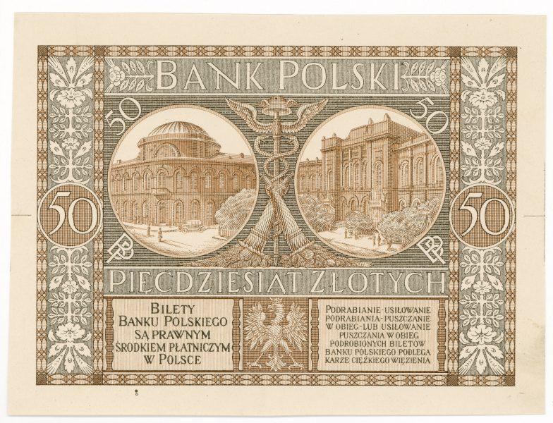 Próba kolorystyczna 8 banknotu 50 złotych 1925