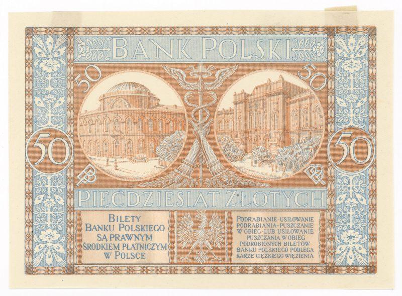 Próba kolorystyczna 9 banknotu 50 złotych 1925